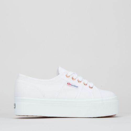 Full Wedges Sneakers White Rose Gold