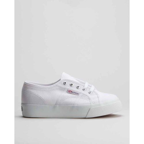 Canvas Mid Wedge Sneakers White Superga