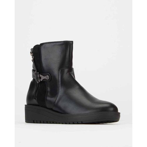 Chunky Wedge Ankle Boots Black Utopia