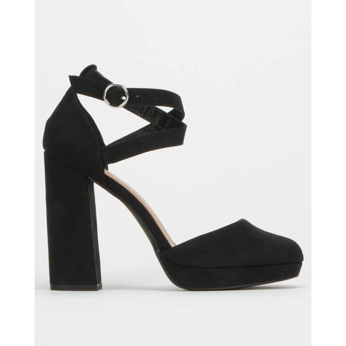Black Suedette Round Toe Heels Black