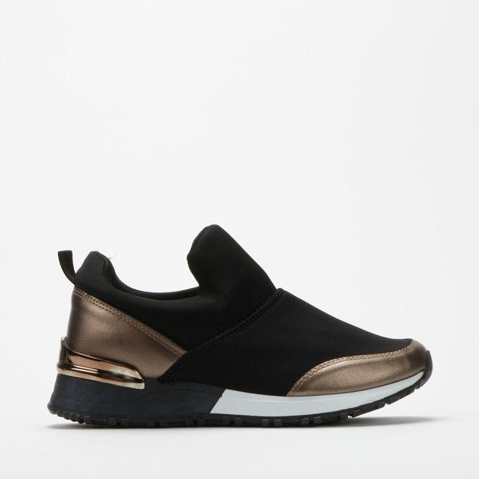 black slide on sneakers